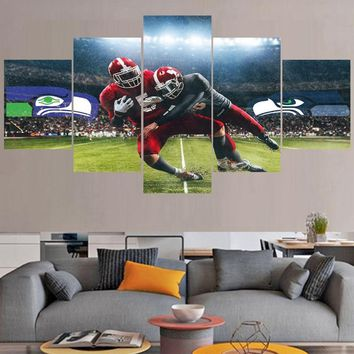5 Pcs/set Rugby Seattle Seahawks Ball Logo Paintings Wall Art Home Decor Picture Canvas Painting Calligraphy For Living Room