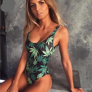 Weeds In The Tropics - Women's Printed One-Piece Swimsuit - Padded