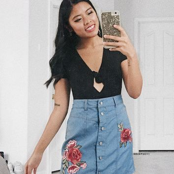 Light Indigo Rose Patch Skirt