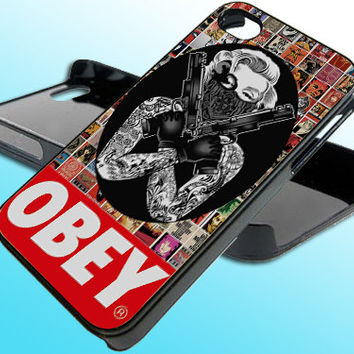 Marilyn Monroe Gangstan Obey for iPhone 4/4s Case - iPhone 5 Case - Samsung S3 - Samsung S4 - Black - White (Option Please)