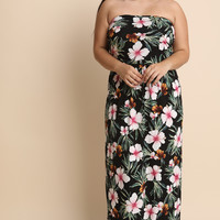 Floral Print Strapless Tube Dress | UrbanOG