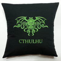Cthulhu Embroidered Pillow Case Cover