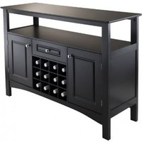 Kitchen Storage Buffet Cabinet Wood Dining Room Wine Rack Sideboard Table Black