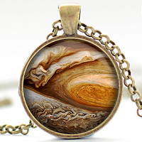Eye of Jupiter Necklace, Planet Art Pendant,  Jupiter Jewelry, Universe Necklace Gift for Him or for Her (374)