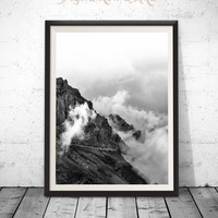 Mountain Photography, Mountain Print, Landscape Print, Poster Prints, Nature Wall Art, Cloud Art, Forest Photography, Wilderness, Printable