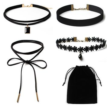 4Pieces Choker Necklace Set Stretch Velvet Classic Gothic Tattoo Lace Choker