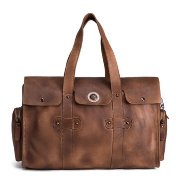 BLUESEBE HANDMADE VINTAGE BROWN VEGETABLE TANNED LEATHER TOTE BAG, OVERNIGHT BAG 9035-VB