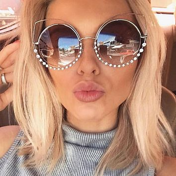 OUTEYE Rhinestone Cat Eye Sunglasses Women Round Mirror Sun Glasses Oversized Shades Coating Reflective Mirror Diamond Eyewear