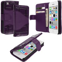 Purple Crocodile Wallet Pouch Case Cover with Slots for Apple iPhone 5C