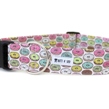 Dog Collar, Girl Dog Collar, Donut Dog Collar, Doughnut Dog Collar, Pink Dog Collar, Funny Collar (Upgrade to Metal Buckle or Martingale)