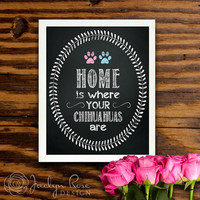 """Printable wall art decor: """"Home is where your Chihuahuas are"""" Chalkboard design (Custom digital download - JPG)"""