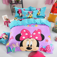 4Pcs Cartoon Mickey Bed Duvet Covet Set Kids Mouse Bedding Set Twin/Full/Queen Size Flat Sheets Housse De Couette Enfant Minnie