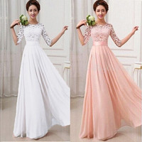 Women Lace Chiffon Prom Ball Cocktail Party Long Dress Bridesmaid Formal Evening Gown [7981333831]