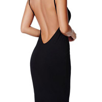 Black Open Back Cami Bodycon Midi Dress