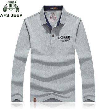 Afs Jeep 2017 Autumn Long Sleeve Brand Polo Shirt Men Casual 95% CottonTurn-down Colla