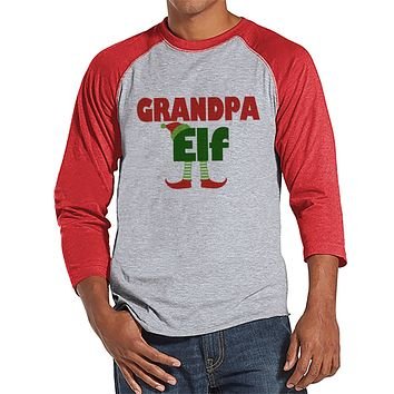 Grandpa Elf Shirt - Christmas Top - Men's Baseball Tee - Red Raglan Shirt - Family Shirts - Family Holiday Outfit - Christmas Elf