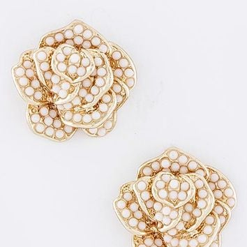 Rose Beaded Earrings