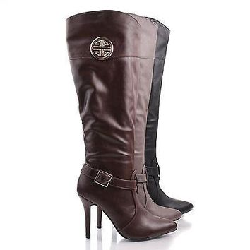 Momentum89 By Anne Michelle, Rhinestone Studded Emblem Pointed Toe Stiletto Zip Up Bootie