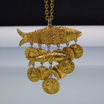 Coro Gold Fish Dangling Coin Charm Pendant Necklace Large Vintage Signed Design