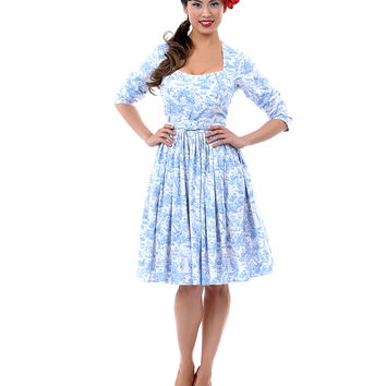 Bernie Dexter 50's Style Katie Blue Toile Dress - Unique Vintage - Prom dresses, retro dresses, retro swimsuits.