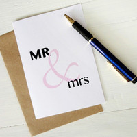 Wedding gift MR & mrs pink ampersand greeting card anniversary invitation engagement