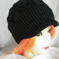 FREE SHIPPING Women Knit Hat Newsboy Winter Hat Black Hat Knited Womens Clothes Clothing Fashion Winter Hats Warm Cozy Soft