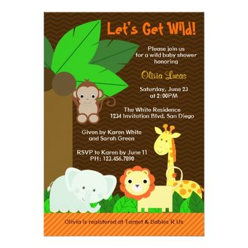 Cute Sweet Jungle Animals Baby Boy Baby Shower