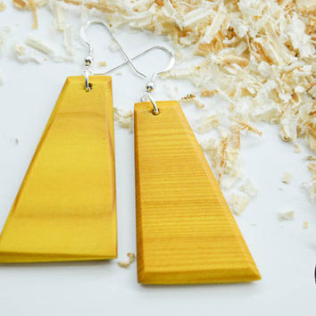 Yellow Wood Earrings, Dangle Earrings, Summer Earrings, Fashion Earrings, Ooak Earrings, Wooden Earrings, Minimalistic, Unique Earrings