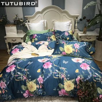 TUTUBIRD- Luxury 100% Egyptian cotton fabric duvet cover flower print floral bedlinen sheet newest bedspreads 4;pcs bedding sets