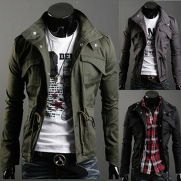 Mens Slim Stylish Collared Jacket