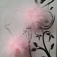 Pom Pom Earrings - Light Pink Fluffy Marabou Feather Earrings - Pom Pom Earrings - plastics - clueless - light pink feather earrings