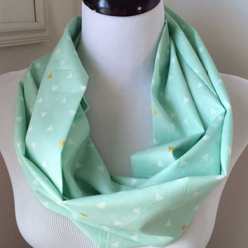 Mint and Metallic Gold Triangle Voile Scarf