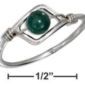 Sterling Silver Malachite Wire Ring