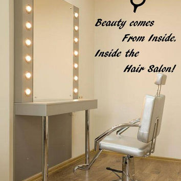 Beauty Salon Decor,  Inspirational Wall Decal Quote, Beauty Comes From Inside, Salon Advertisement Decal, Salon Quotes, Scissors Art  nm007
