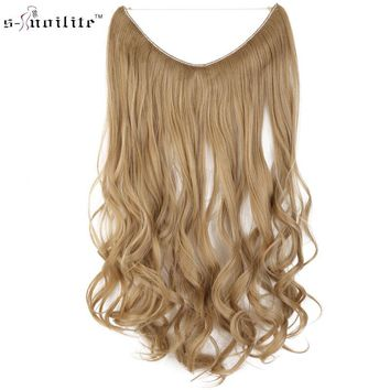 SNOILITE Long Copslay Extension Synthetic Hair Heat Resistant Hairpiece Fish Line Straight Hair Extensions Brown Blonde