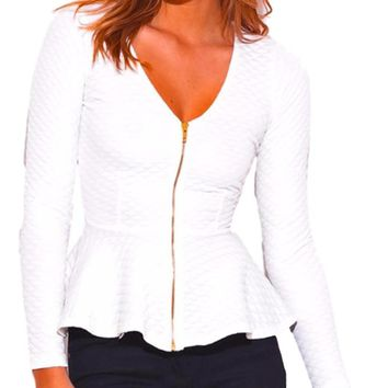 Women's Lightweight White Quilted Peplum Blazer Zipper Jacket