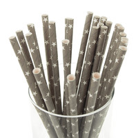 Star Paper Straws, 7-3/4-inch, 25-pack, White/Silver