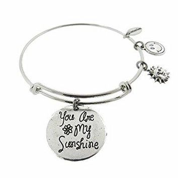 You Are My Sunshine Silver Tone Expandable Wire Bracelet