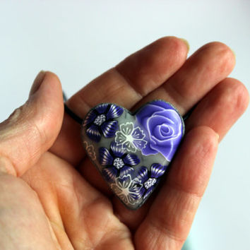 Purple flower polymer clay necklace, silver pendant, purple flower necklace.
