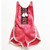 2016 European&America Style Girl Overalls Tassels Toddler Baby Girl Romper National Trend Clothes