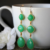 Long  Drop Green Chalcedony  Earrings, 3 tiers, Cascade, gold filled Jewelry, Chrysoprase Green, Long Dangles, Triple drop
