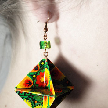 Emerald Folklore Diamond Origami Earrings - Folk Origami Dangle Modern Paper Earrings
