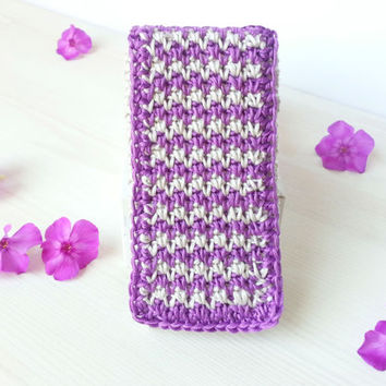 Interchangeabel  Frontflap for Iphone-, Smartphone Case, crocheted, Samsung Galaxy S3, S4, S5 and Iphone 5