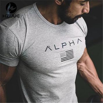 2017 New Brand clothing Gyms Tight t-shirt mens fitness t-shirt homme Gyms t shirt men fitness crossfit Summer top