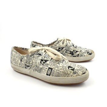 Comics Keds Shoes Vintage 1990s  Print Sneakers Women's size 5 1/2