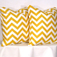 Pillow Covers Yellow and White Chevron by DesignerPillowShop