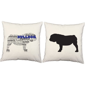 Bulldog Throw Pillows - Typography Dog Silhouette Pillow Covers and or Cushions, Bulldog Pillows, Dog Breed Pillow, Bulldog Print, Dog Print
