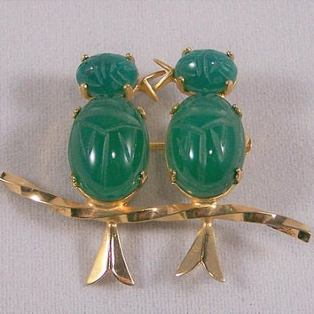 Burt Cassell Scarab Bird Pin, Carved Green Chrysoprase Beetle Stones, Gold Filled Figural Brooch, Mid Century Jewelry 218