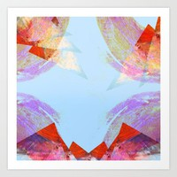 Triangles in red Art Print by Linda Luttinger