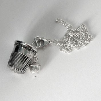 Acorn and Thimble Peter Pan Hidden Kisses Necklace in Solid Sterling Silver